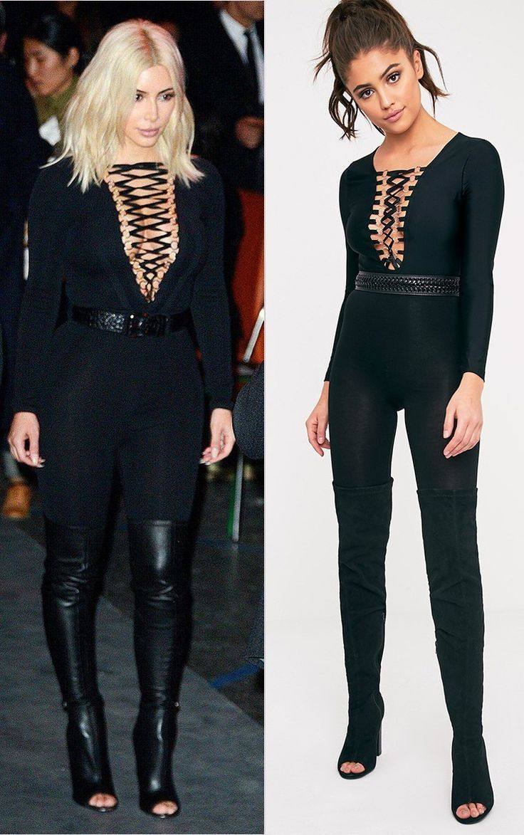 Enya Black Lace Up Front Bodysuit Image 1