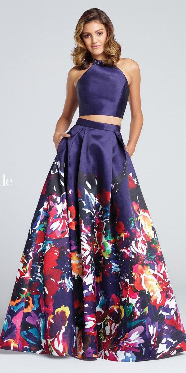 Step out in style in a ravishing printed mikado ball gown with a two piece silhouette and high neckline.