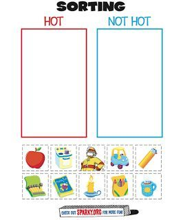 Fire safety activities: FREE Hot or not hot fire safety cut and glue worksheet.