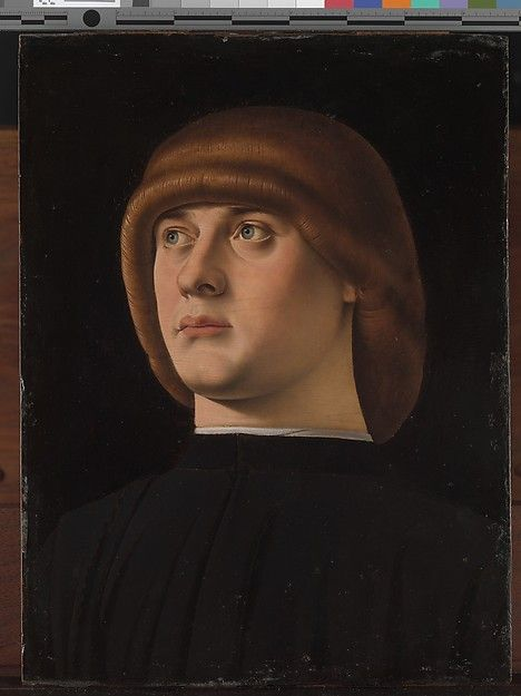 Portrait of a Young Man Artist: Jacometto (Jacometto Veneziano) (Italian, active Venice by ca. 1472–died before 1498) Date: 1480s Medium: Oil on wood A brilliant miniature painter, Jacometto was also outstanding at portraits. He was much influenced by the Sicilian painter Antonello da Messina, who worked in Venice in 1475–76, but Jacometto's portraits have a crystalline clarity, enhanced by the black background. The distinctive hairstyle—a zazzera—was fashionable in Venice in the 1480s and…