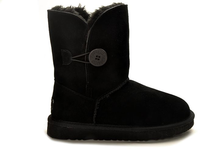 Product Name: UGG 5803 Black Bailey Button Boots    Product Code: UGG 5803    Product Color: Black    Like the Classic Short, the Womens Bailey Button is a calf-height boot made from genuine Twinface sheepskin. We've updated this traditional style with a wooden UGG® logo button and elastic band closure. The Bailey Button can be worn up or cuffed down adding a little variety depending on your style. All boots in our Classic Collection feature a soft foam insole covered with genuine sheepskin…