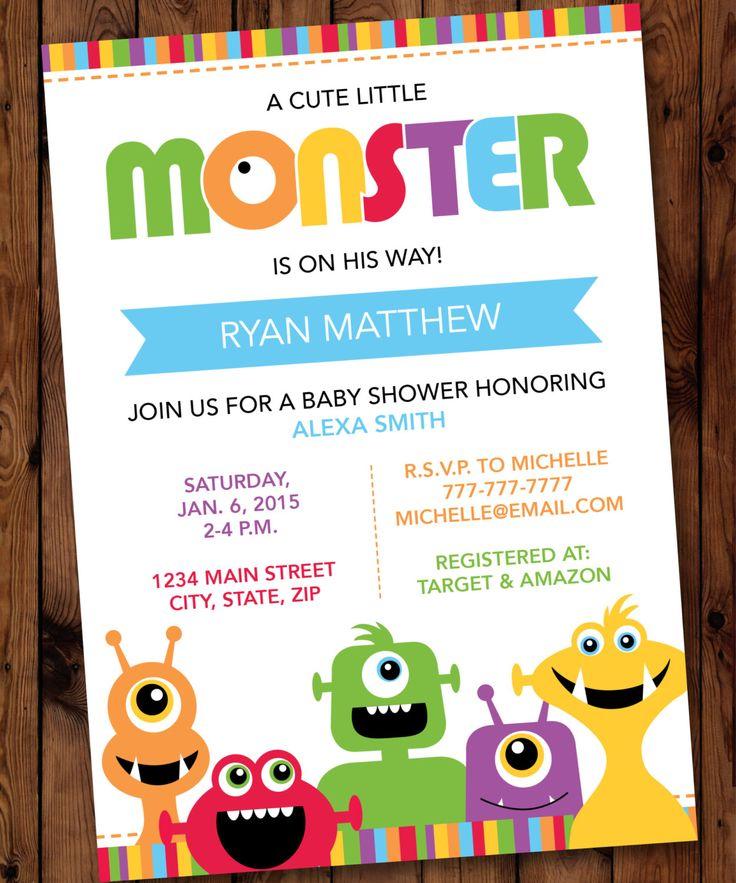 Monster Baby Shower Invitations, Little Monster Baby Shower Invitations by PartiesbytheBundle on Etsy https://www.etsy.com/listing/252200232/monster-baby-shower-invitations-little