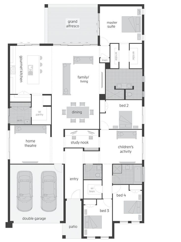 Hi there! Today on Floor Plan Friday I have this narrow but large 2 storey home with 5 bedrooms, plus a study and 3 living spaces...