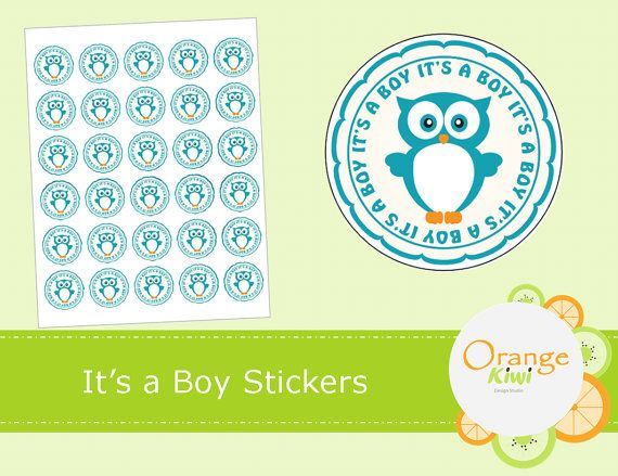 It's a Boy Stickers  Boy Gender Reveal by OrangeKiwiDesign on Etsy