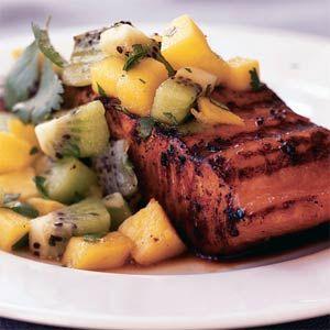 Marinated Salmon with Kiwifruit and Mango relish