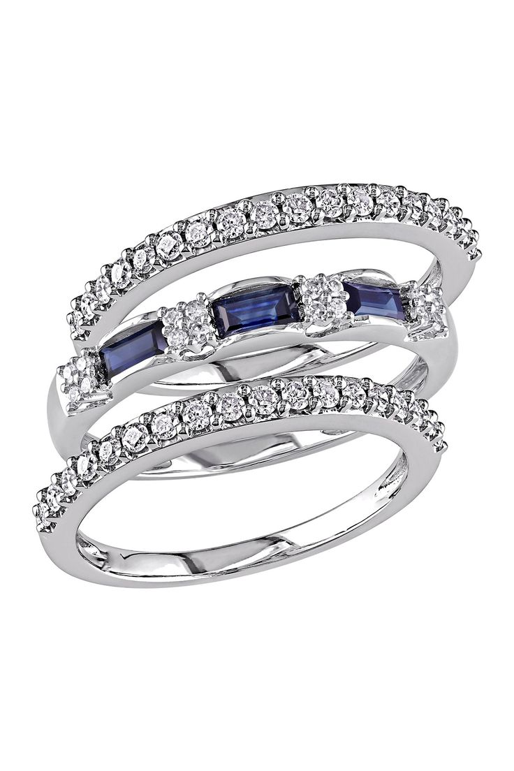 10K White Gold White Diamond & Baguette Sapphire Ring Set on @nordstrom_rack