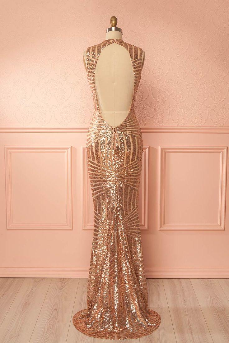 Rose gold sequins open-back mermaid gown - Robe de soirée longue à dos ouvert et paillettes or rose