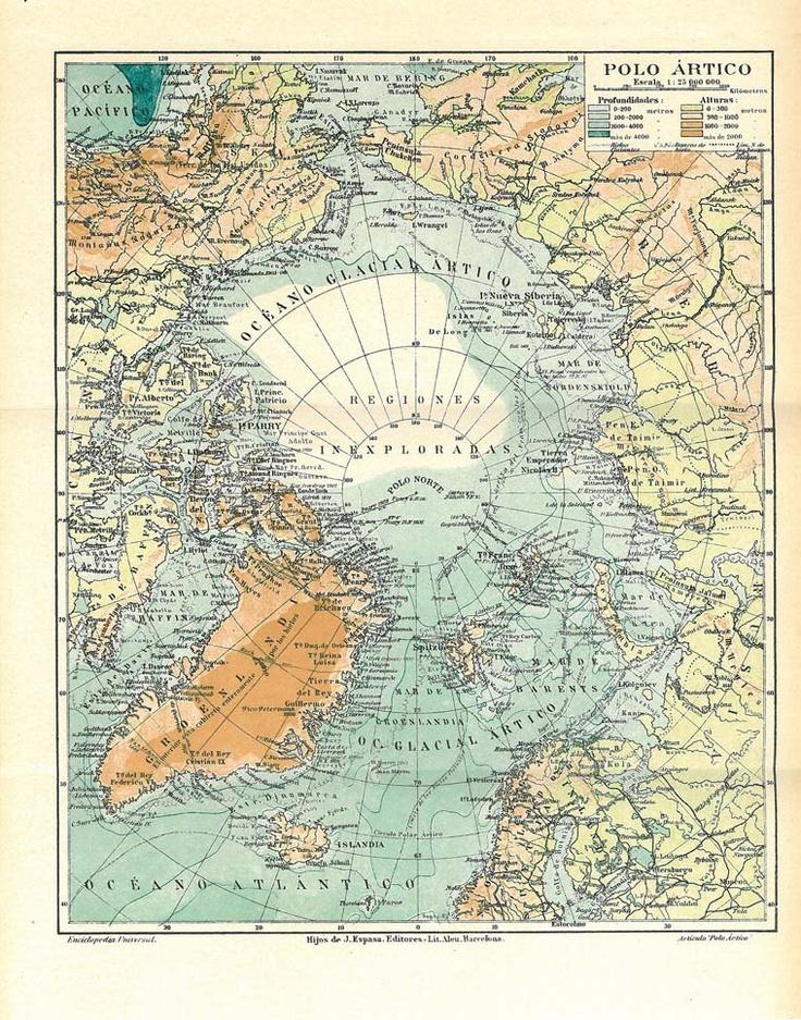 1923 North Pole Vintage Map  Expeditions Arctic Ocean.Etsy.