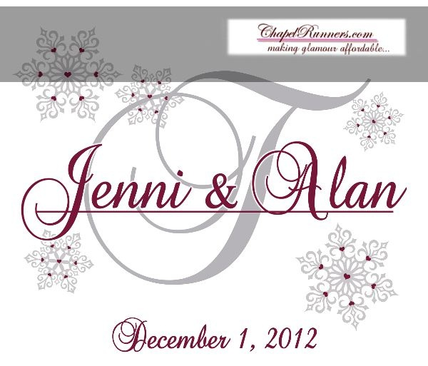 Winter Love Aisle Runner Or Monogram For Your Snow Themed Wedding Special Event