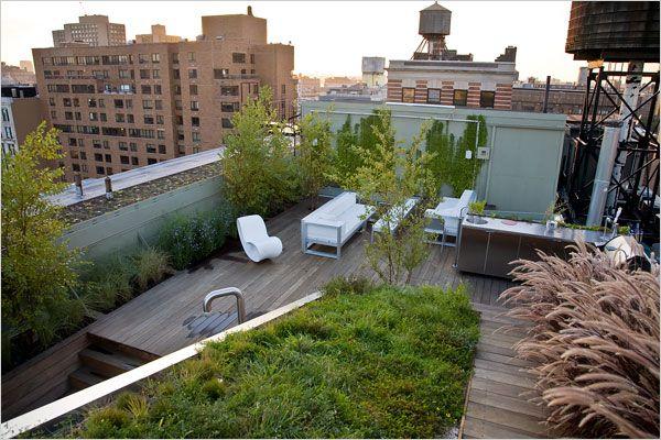 Terrasse avec vue sur les toits de New-York : bois et végétation