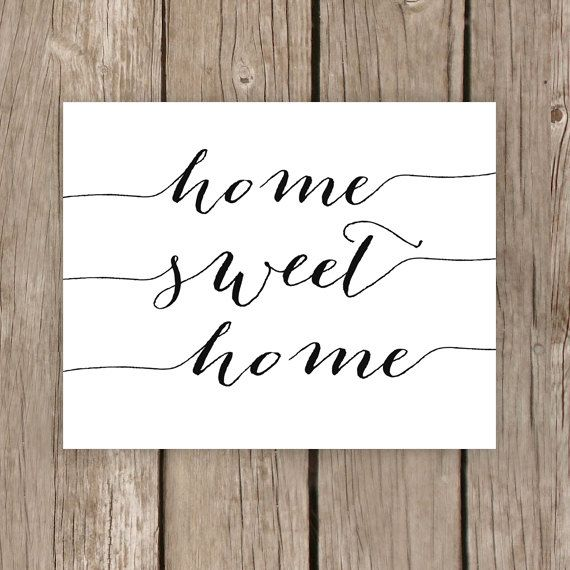 Home Sweet Home, Printable Typography Sign, Home Decor Print, INSTANT DOWNLOAD