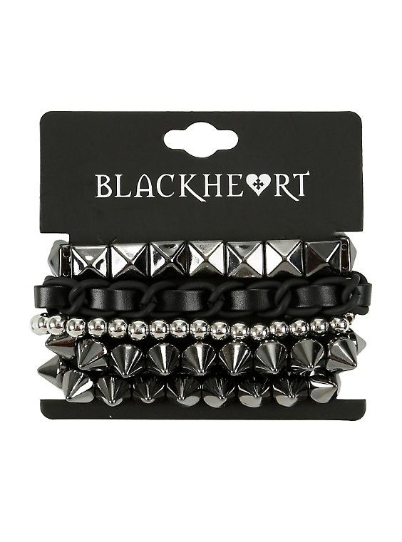 Blackheart Spike Stud & Chain Bracelet Set,