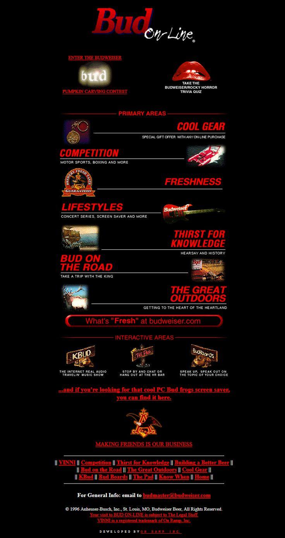 Budweiser website in 1996