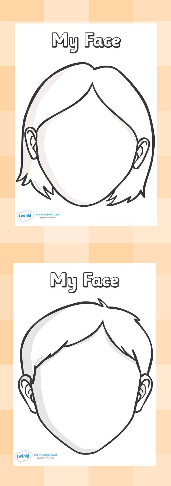 Twinkl Resources >> Blank Face Templates  >> Classroom printables for Pre-School, Kindergarten, Elementary School and beyond! Topics, Ourselves, Face, Activities