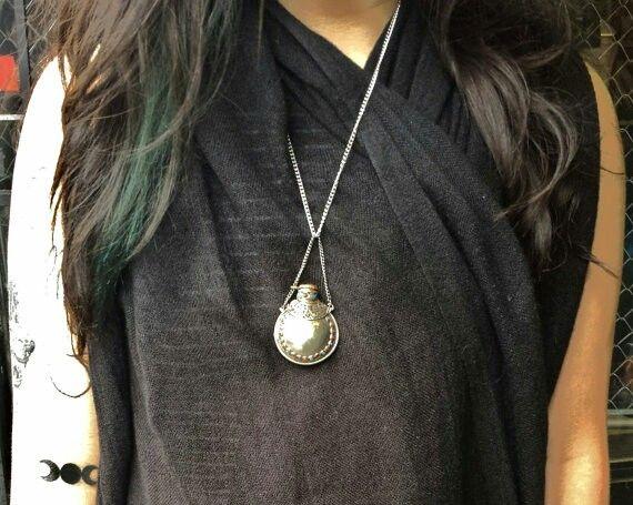 Courtney Bea modeling a jar necklace for Hot Shaman (insta: @hot_shaman)
