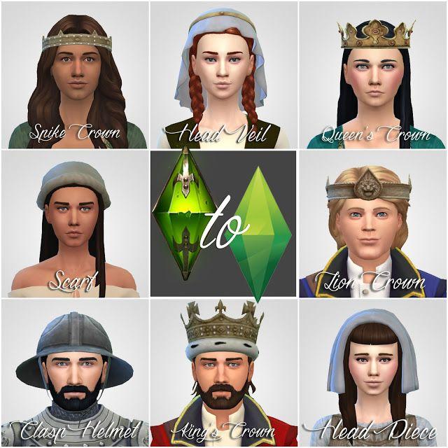 TSM to TS4: Crowns & Hats & Helmet | History Lover's Sims Blog