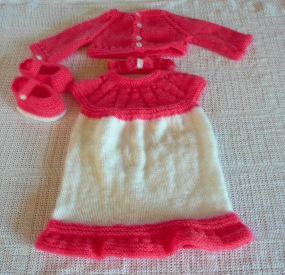 Baby girl's hand knitted 4 piece set dress by KnitsbyJustJenny