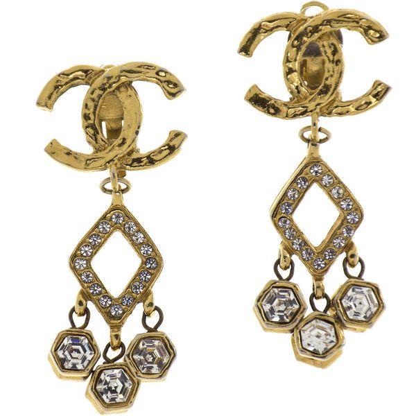 Pre-Owned Chanel Vintage Triangle Swarovski Earrings