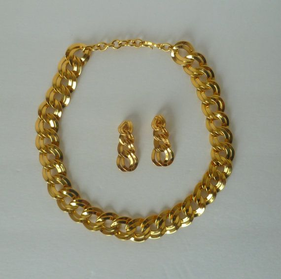 Vintage Monet Double Link Chunky Chain Necklace and by ReliveRetro