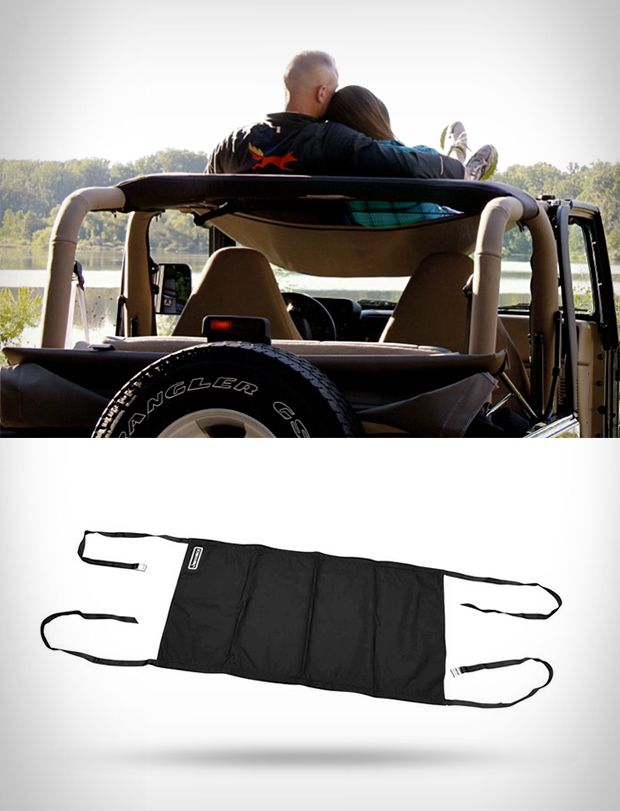 Jammock: It's a hammock for your Jeep or Truck! Find a great spot, get on top of your Jeep and enjoy the view.         More on blessthisstuff