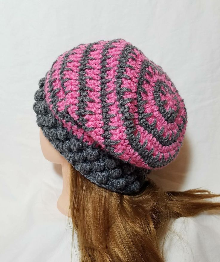 "#etsy shop: Bobble Slouch Hat, Heather Gray & Pink, Adult (22""-24"" circumference), Crochet Slouchy Hat, Crochet Gray Hat, Crochet Pink Hat, Slouch Hat #accessories #hat #gray #birthday #pink #handmadecrochet #womensslouchyhat #womensapparel http://etsy.me/2CuI3Wo"