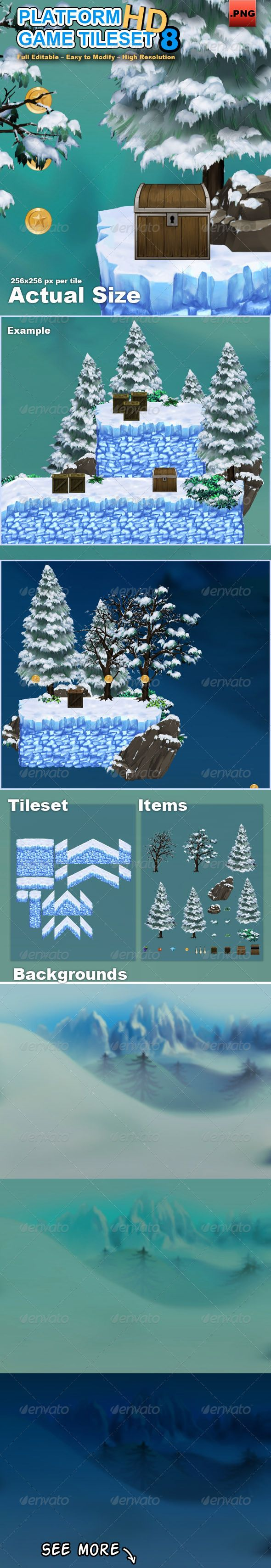 Platform Game Tileset 8 HD Snow