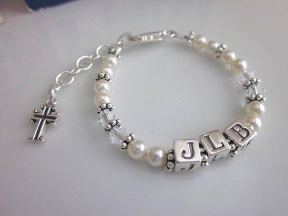 Sweet Baptism/Christening Initial Bracelet via Etsy
