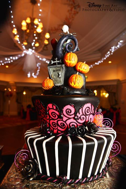 This wedding cake hails is inspired by the classic Halloween tale, The Nightmare Before Christmas.