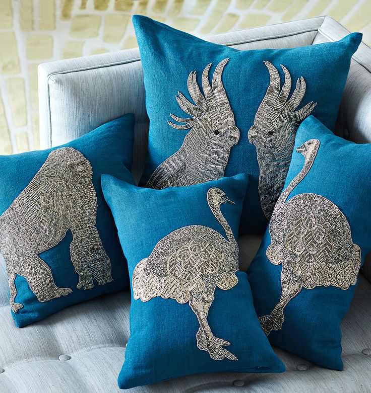Glam and surreal, the Jonathan Adler Zoology Pillows take you on a sofa safari and add the perfect punctuation to your pillowscape.