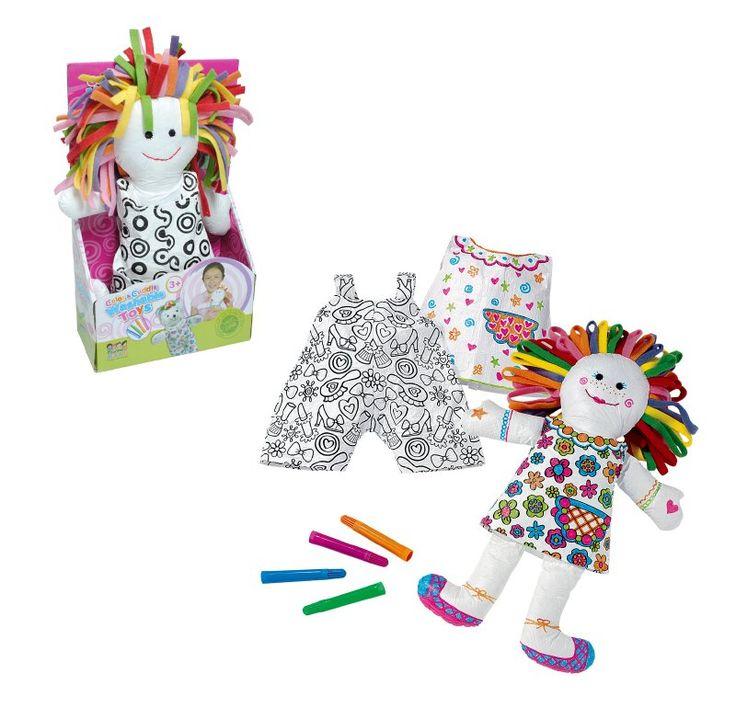 Muñeca para pintar en bolso de PVC. Incluye 4 crayones de diferentes colores.