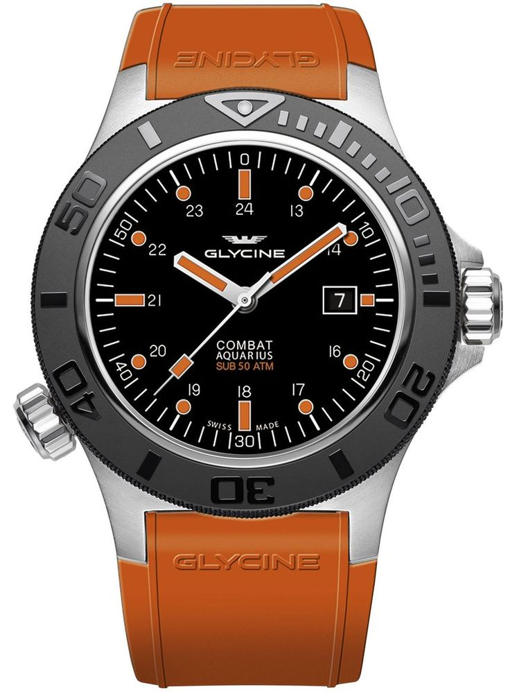 Glycine Watch Combat Sub Aquarius #add-content #basel-17 #bezel-unidirectional #bracelet-strap-rubber #brand-glycine #case-material-steel #case-width-46mm #date-yes #delivery-timescale-call-us #dial-colour-black #gender-mens #luxury #movement-automatic #n