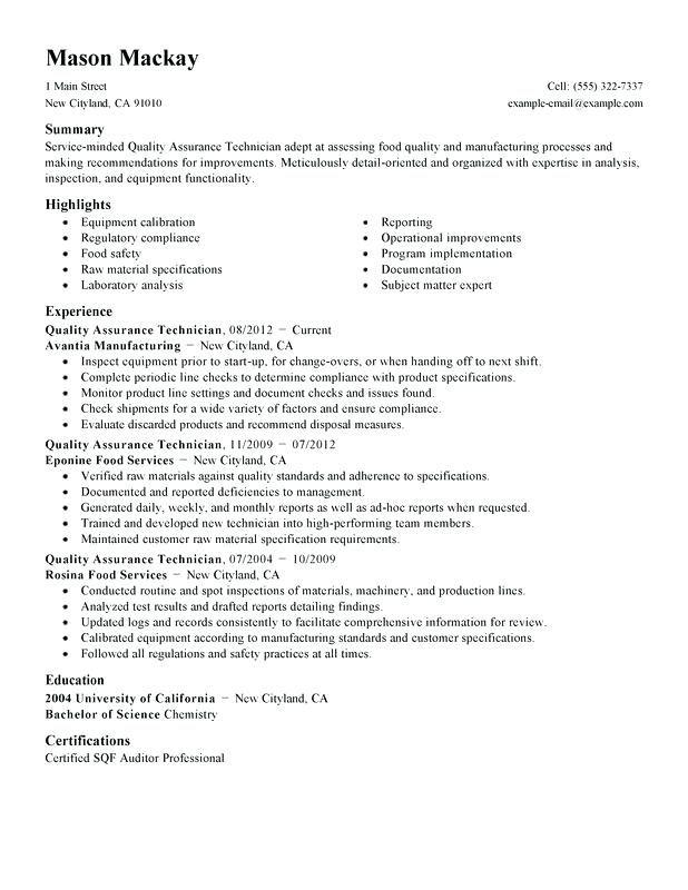Quality Assurance Manager 3 Resume Templates Server Resume