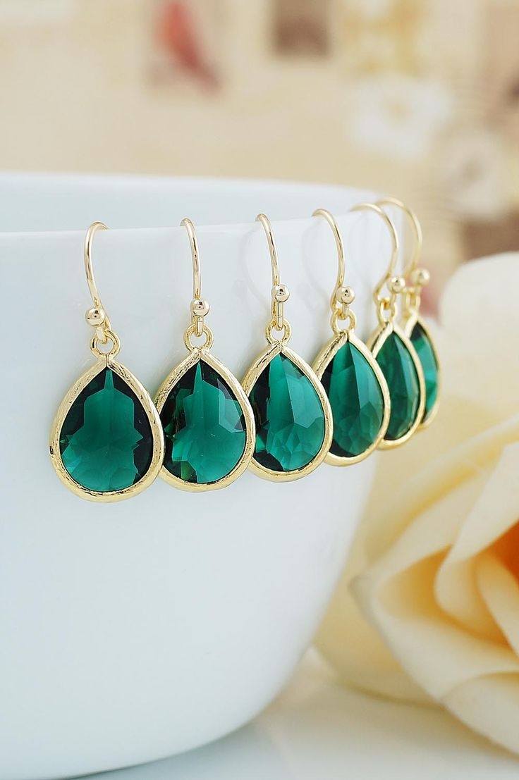 Emerald Glass Drop Bridesmaid Earrings from EarringsNation Emerald Weddings