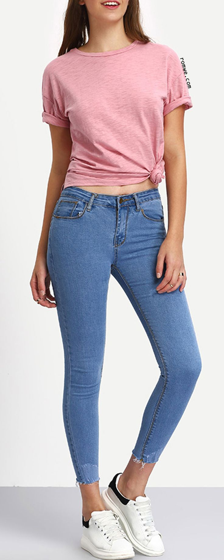 Frayed Light Blue Skinny Ankle Jeans - Only need $18.99, Get more surprise at romwe.com !