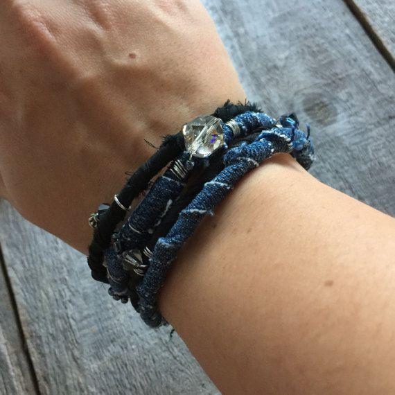 Синий Жан Bangles Gypsy браслеты ткани браслеты Потертый