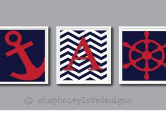 Children Art Print Nautical, baby, boys room, nursery, red, blue, Personalized Monogram - Boys Decor - Nursery or Toddler Room Print