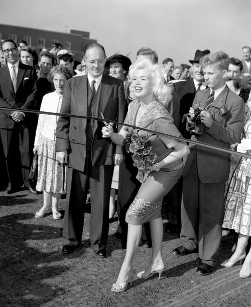 American actor Jayne Mansfield opening the Chiswick Flyover, later incorporated into the M4 motorway, London, England, 1959.