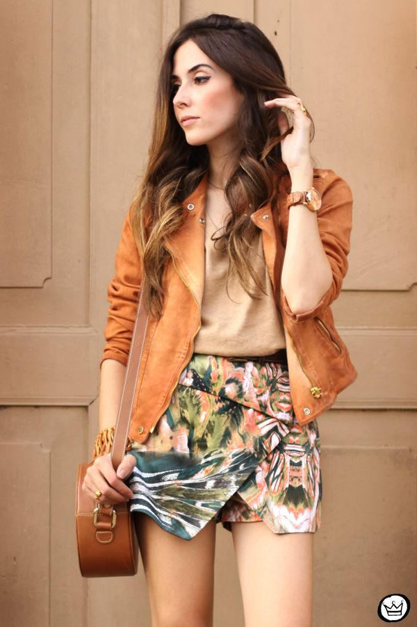 printed shorts and jacket