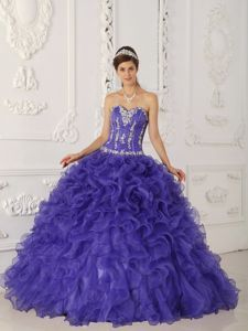 Purple Ball Gown Sweetheart Appliques Ruffled Quinces Dresses