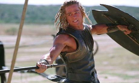Brad Pitt in Troy fight scene.