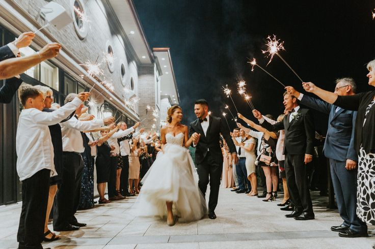 Sparkler exit at wedding; PHOTOGRAPHY Joel + Justyna Bedford, VENUE The Arlington Estate, Toronto ON
