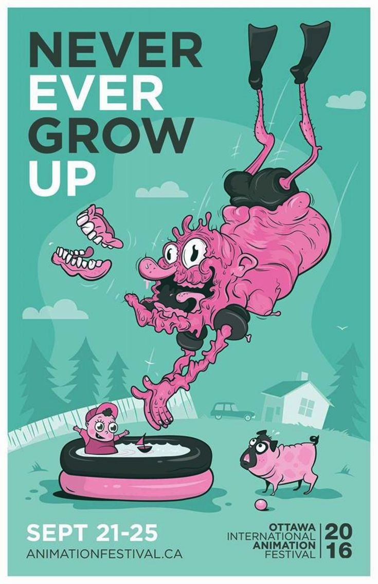 Ottawa Animation Festival Poster Designs 2016  Art Director: Michael Zavacky Illustrator: Chelle Lorenzen Copywriter: Ian Driscoll Graphic Design: Jared Barter McMillan Agency