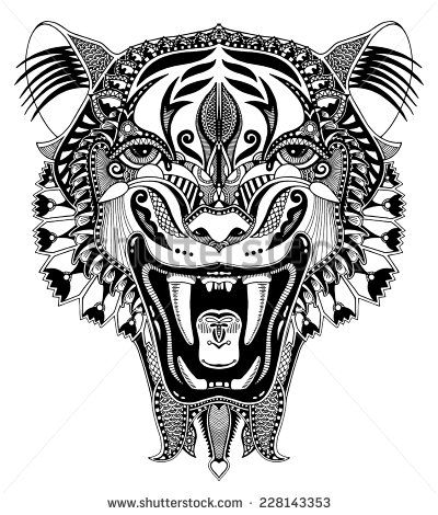 original black and white head tiger drawing with the opened fall, isolated on white background, perfect for tattoo design, vector illustration - stock vector