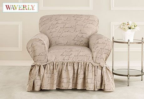 """Pen Pal by Waverly™ One Piece Slipcover: playful scripted French message on cotton canvas """"parchment"""" fabric. #charming"""