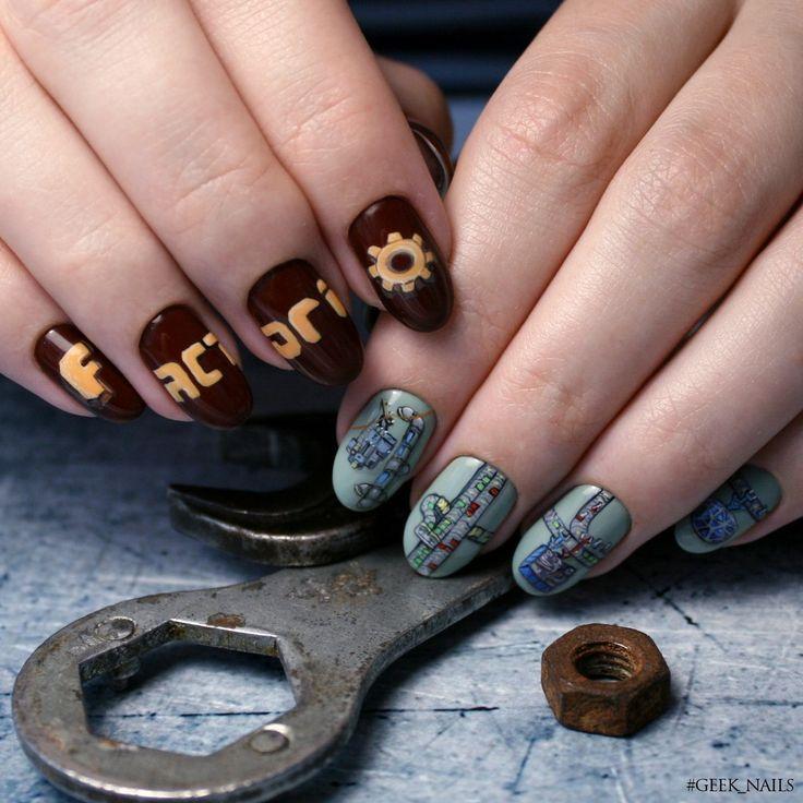 #geeknails  #шеллак #гельлак #нейларт #ногти #маникюр #дизайнногтей #nailart #naildesign #factorio