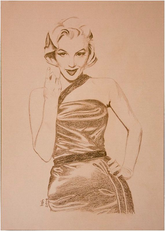 Marilyn Monroe, Original hand drawing, brown pencil on paper, one of a kind