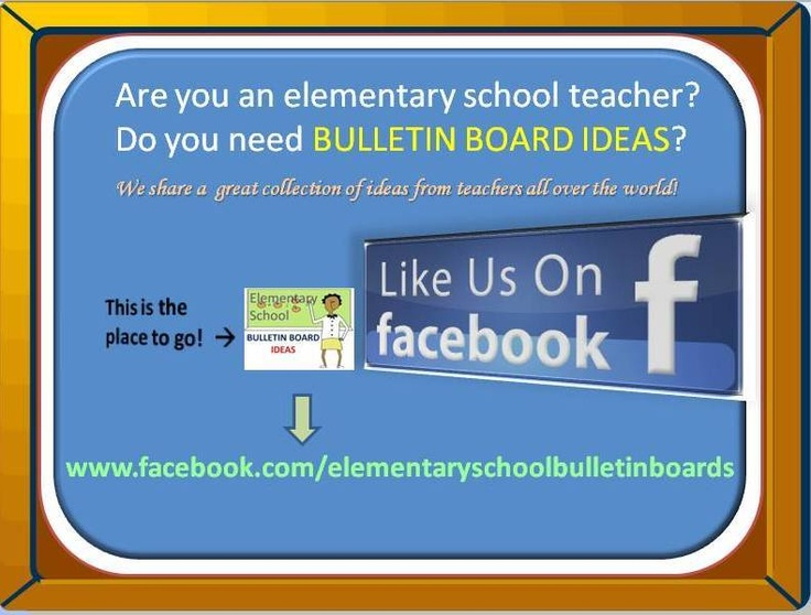 """""""BULLETIN BOARD IDEAS FOR ELEMENTARY SCHOOL TEACHERS"""" is the facebook page you don't want to miss! *L*I*K*E***I*T*** N*O*W*! It is full of bulletin board pictures sorted by themes. This is a MUST HAVE for all teachers. You may look for great ideas or post your own. It's all about sharing! :) *Feel free to REPIN on your board to share the good news!*"""