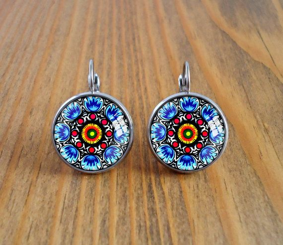 Folk art dangle earrings, polish cut outs picture earrings, slavic ethnic photo earrings, cabochon image earrings, glass dome jewelry, gift