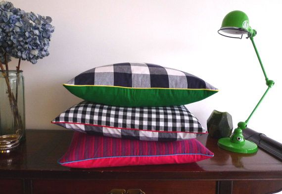 Bright green and check Cushion Cover 50 x 50cm