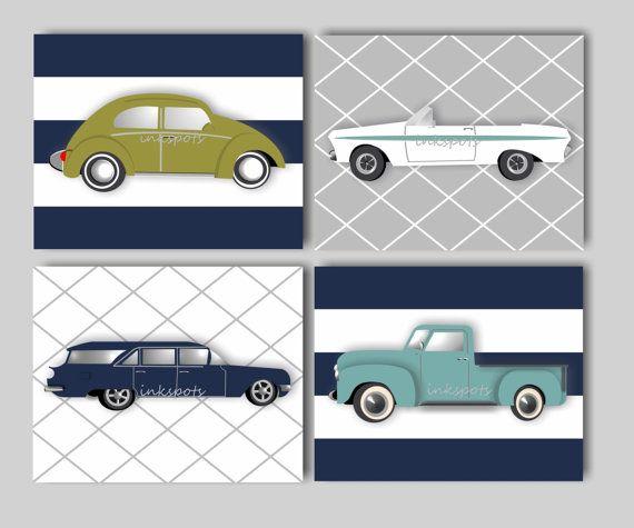 Car Nursery Bedding Decor Transportation Nursery Bedding Decor Baby Boy Nursery Art Vintage Car Print Collection Choose Colors VC9110